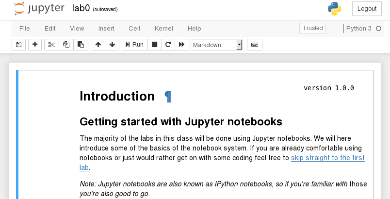 the Jupyter intro notebook